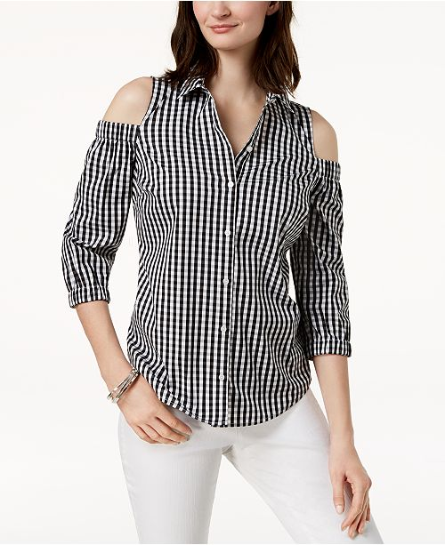 Cold-Shoulder Gingham Shirt, Created for Macy's