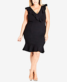 City Chic Trendy Plus Size Ruffled Dress