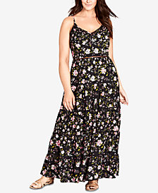 City Chic Trendy Plus Size Crochet-Waist Maxi Dress