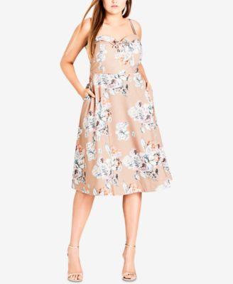 City Chic Trendy Plus Size Floral Print A Line Dress