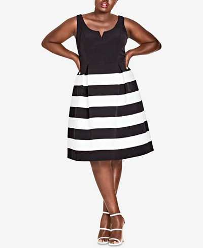 City Chic Trendy Plus Size Striped A-Line Dress