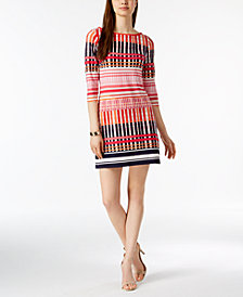 Jessica Howard Petite Mixed Grid-Print Dress