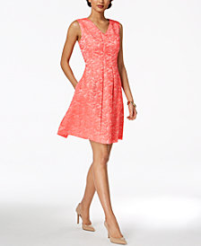 Ellen Tracy Printed Fit & Flare Dress