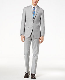 CLOSEOUT! Calvin Klein Men's Slim-Fit Light Gray Sharkskin Suit