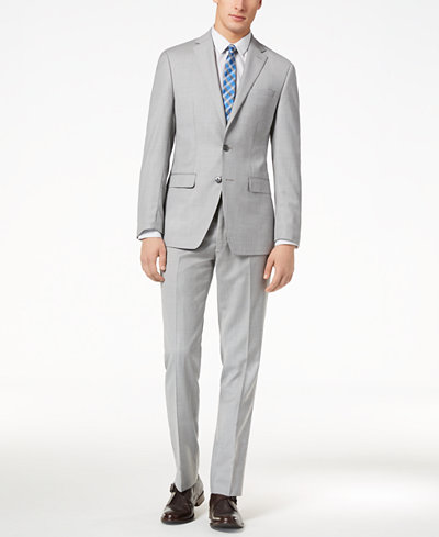 Calvin Klein Men's Slim-Fit Light Gray Sharkskin Suit