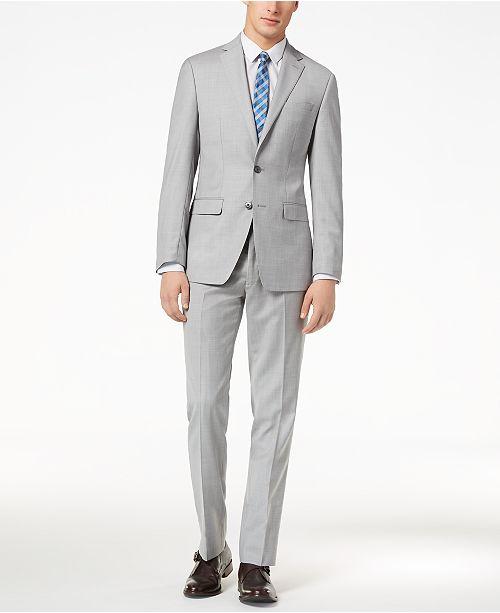 655b18e42362a3 Calvin Klein CLOSEOUT! Men's Slim-Fit Light Gray Sharkskin Suit ...
