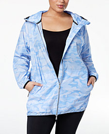 Calvin Klein Performance Camo-Print Packable Walker Rain Jacket