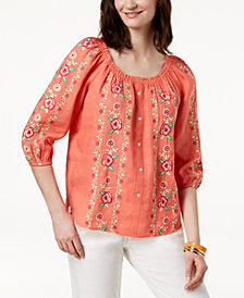 Charter Club Embroidered Linen Peasant Top, Created for Macy's
