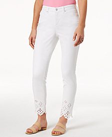 Charter Club Petite Eyelet-Hem Skinny Jeans, Created for Macy's