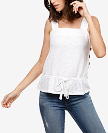 Lucky Brand Cotton Button-Detail Drawstring Top