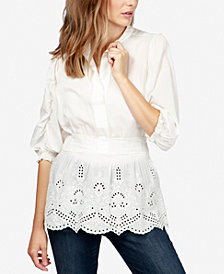 Lucky Brand Schiffli Embroidered Tunic