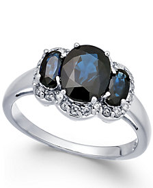 Sapphire (2-5/8  ct. t.w.) & Diamond Ring (1/4 ct. t.w.) in 14k White Gold
