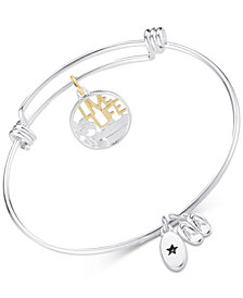 "Unwritten ""Live Life"" Beach Theme Adjustable Bangle Bracelet in Two-Tone Stainless Steel"
