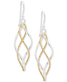 Giani Bernini Twist Dangle Drop Earrings in Sterling Silver and 18k Gold-Plate, Created for Macy's