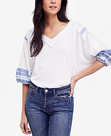 Free People Embroidered Bubble-Sleeve T-Shirt