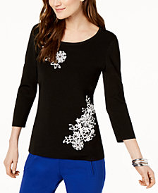 I.N.C. Floral-Appliqué Embellished Top, Created for Macy's
