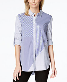 Calvin Klein Mixed-Print High-Low Shirt