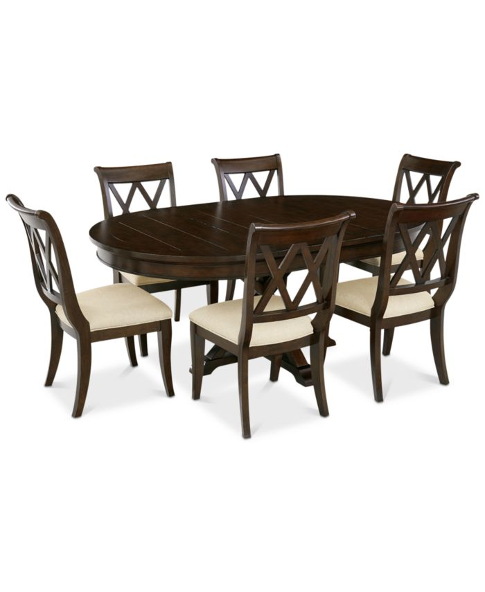 Furniture Baker Street Round Expandable Dining Furniture, 7-Pc. Set (Dining Table & 6 Side Chairs), Created for Macy's & Reviews - Furniture - Macy's