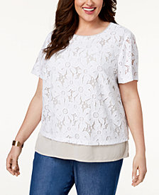 Alfred Dunner Blues Traveler Plus Size Lace-Overlay Top