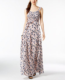 foxiedox Floral-Print Smocked Ruffle Maxi Dress