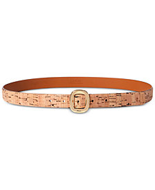 Lauren Ralph Lauren Rounded-Buckle Cork Belt