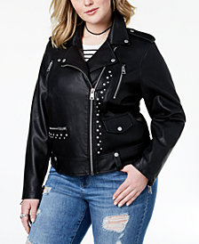 Levi's® Plus Size Studded Faux-Leather Moto Jacket
