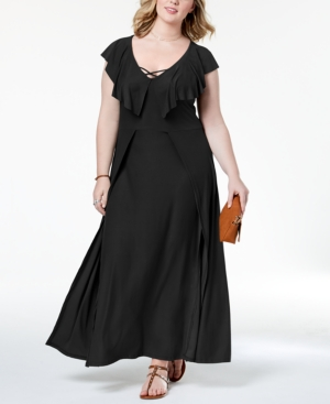 Vintage Evening Dresses and Formal Evening Gowns Planet Gold Trendy Plus Size Ruffled Maxi Dress $49.00 AT vintagedancer.com