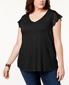 Style & Co Plus Size Lace-Sleeve Top, Created for Macy's