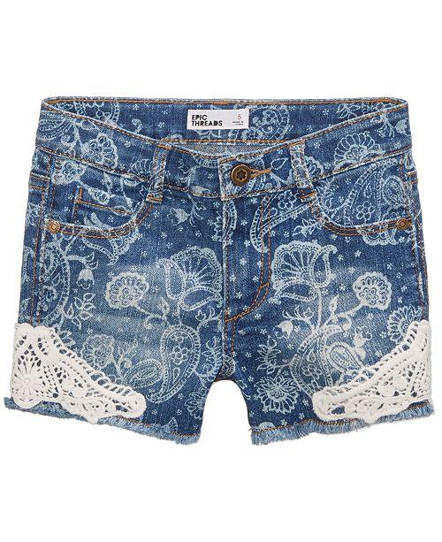Epic Threads Paisley Denim Shorts, Little Girls, Created for Macy's