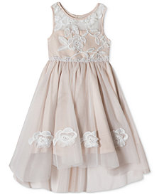 Rare Editions Embroidered High-Low Hem Dress, Little Girls
