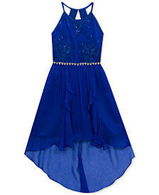 Rare Editions Embroidered High-Low Hem Maxi Dress, Big Girls Plus