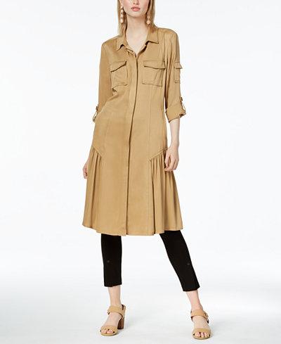 Bar III Twill Duster-Length Jacket, Created for Macy's