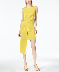 Bar III Sleeveless Asymmetrical-Drape Dress, Created for Macy's