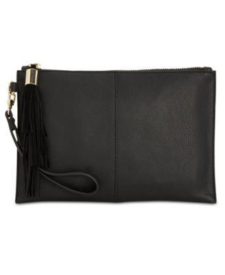 Macy/'s Genuine Leather Wristlet Wallet Black MSRP $54