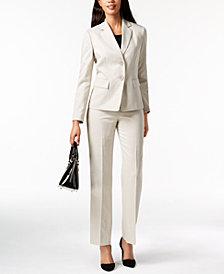 Le Suit Herringbone Pinstripe Pantsuit, Regular & Petite