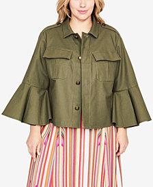 RACHEL Rachel Roy Trendy Plus Size Bell-Sleeve Utility Jacket