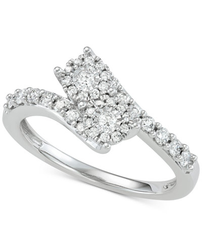 Diamond Halo Two-Stone Engagement Ring (1/2 ct. t.w.) in 14k White Gold