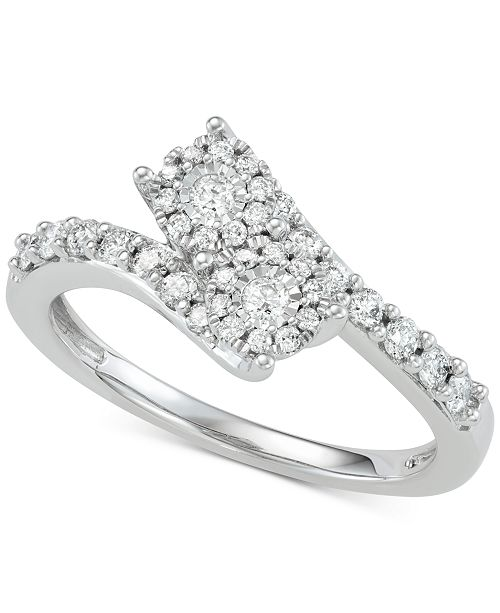 Two Souls, One Love® Diamond Halo Two-Stone Engagement Ring (1/2 ct. t.w.) in 14k White Gold