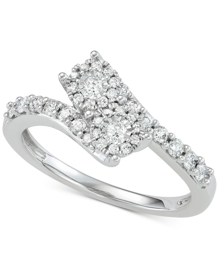 Two Souls, One Love® - Diamond Halo Two-Stone Engagement Ring (1/2 ct. t.w.) in 14k White Gold