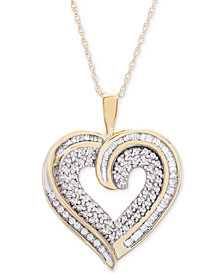 Diamond Baguette Heart Necklace in 10k Gold or White Gold (3/8 ct. t.w.)