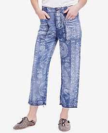 Free People Island Vibes Printed Ankle Jeans