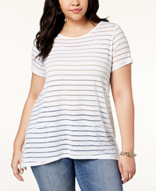 I.N.C. Plus Size Illusion-Striped Top, Created for Macy's