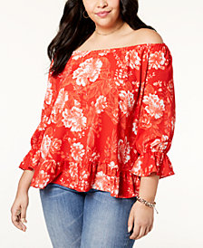I.N.C. Plus Size Off-The-Shoulder Peasant Top, Created for Macy's
