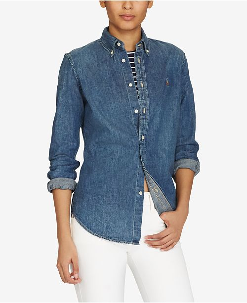 972b479f5dd Polo Ralph Lauren Slim-Fit Denim Shirt & Reviews - Tops - Women ...