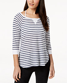 Calvin Klein Performance Highlight Striped Cutout-Sleeve Top