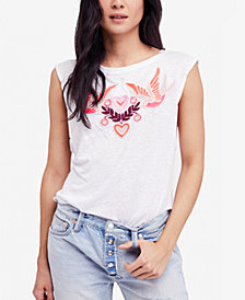 Free People Love Birds Cotton Lace-Up T-Shirt