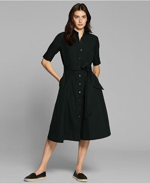 d86f89bdb40f Lauren Ralph Lauren Fit   Flare Cotton Shirtdress   Reviews ...