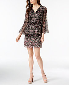 Vince Camuto Printed Bell-Sleeve Dress