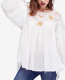 Free People Secret Garden Cotton Embroidered Top