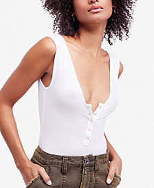 Free People Take Me Out Henley Tank-Top Bodysuit